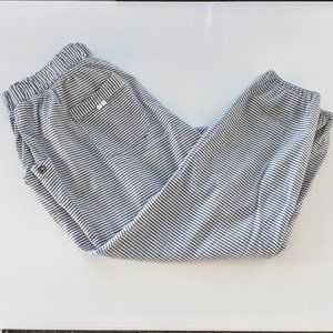 Gray and White Striped Anthropologie Joggers